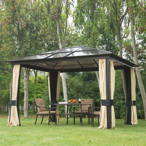 backyard gazebo 12 x 10 hardtop gazebo outdoor patio canopy with mesh and