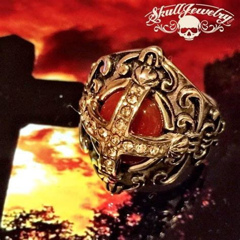 time cross ring  blood red  stone