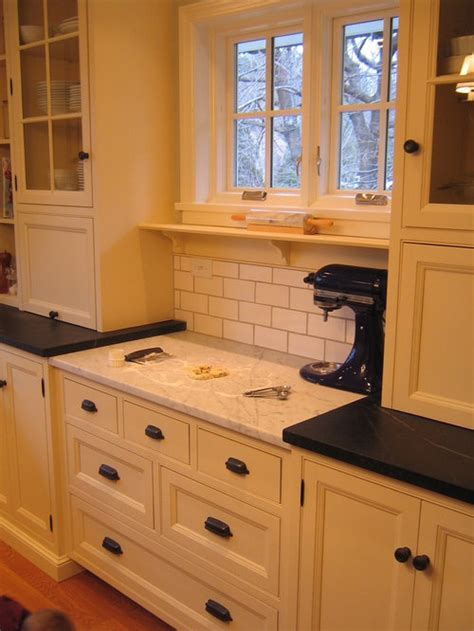 kitchen baking station area counter center kitchens cabinets marble countertop yes cooking stations dream please backsplash island designs perfect houzz