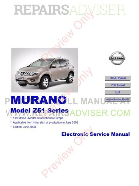 download car manuals pdf free 2004 nissan murano parking system nissan murano model z51 series service manual download