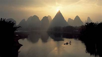 Landscape China Chinese Wallpapers Scenery River Mountains