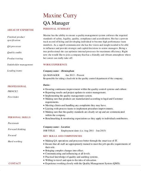 Quality Manager Resume Exles by 14 Awesome Quality Assurance Resume Sle Templates