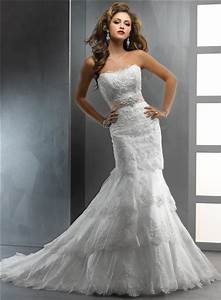 gorgeous trumpet mermaid strapless tiered beaded lace With tiered wedding dress