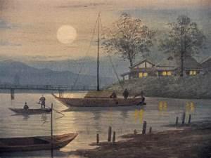 "Hidesaki S - - ""Fishing Boats at Night"" - Watercolour"