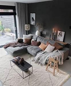 Modern, Living, Room, Scandinavian, Design, Gray, Sofa, Gray