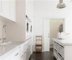 Laundry Room With White Shaker Cabinets Marble Tile