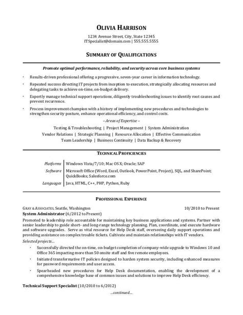 Exles Of Professional Resumes by It Professional Resume Sle