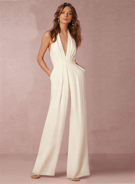white jumpsuits for 39 s white halter sleeveless backless jumpsuit