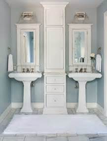 double pedestal sink bathroom transitional with double