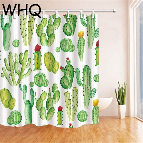 Cactus Shower Curtain - green shower curtain cactus banana leaves print waterproof