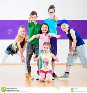 Kids Train Zumba Fitness In Dancing School Stock Photo ...