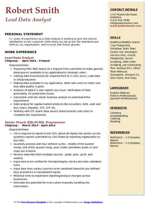 Data Analyst Resume by Data Analyst Resume Sles Qwikresume
