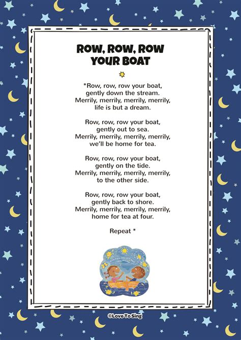 Row Row Row Your Boat Lyrics And Actions by Row Row Row Your Boat Song With Free Lyrics