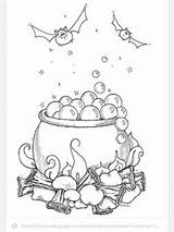 Cauldron Halloween Coloring Template Embroidery Witches Adult Ausmalbilder Kostenlos Books Eule Sketch sketch template