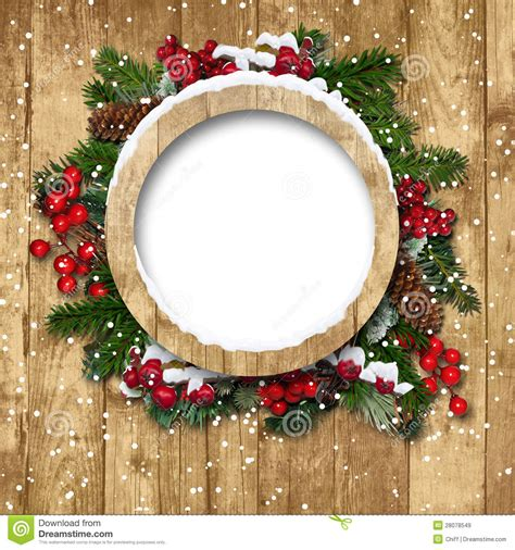 christmas frame  decorations   wooden stock image