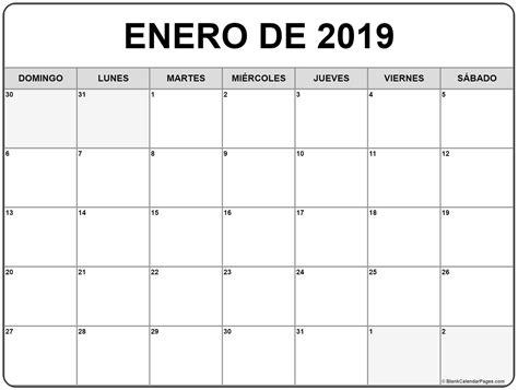 Enero De 2019 Calendario Gratis