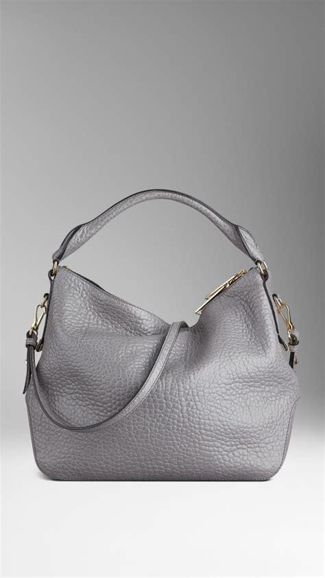 burberry small heritage grain leather hobo bag  mid grey melange gray lyst