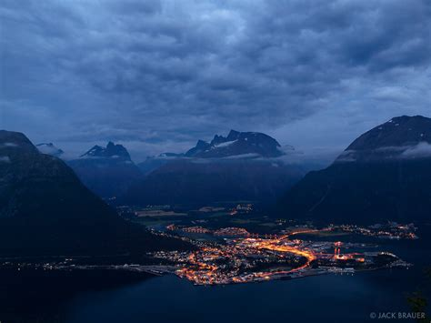Andalsnes At Night Andalsnes Norway Mountain