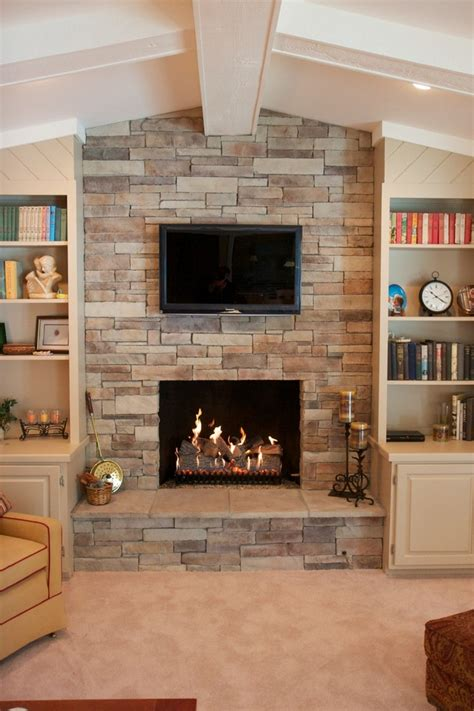 stacked stone veneer Living Room Traditional with faux
