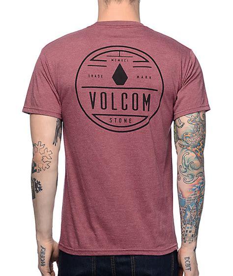 volcom spinner burgundy t shirt zumiez