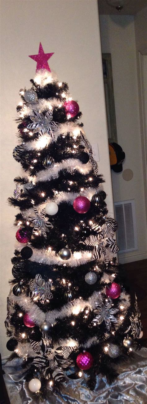 zebra christmas tree  hints  hot pink christmas
