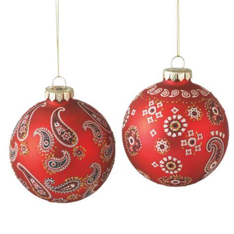 bandana print ball christmas ornaments set of 2