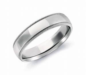 Milgrain comfort fit wedding ring in 14k white gold 5mm for Milgrain wedding ring