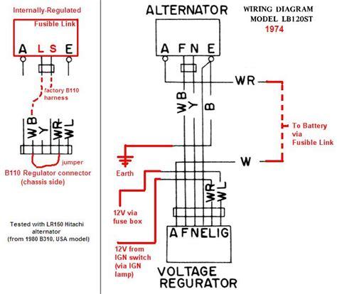 Hitachi Alternator Wiring Diagram by Tech Wiki Ir Alternator Conversion Wiring Datsun 1200 Club