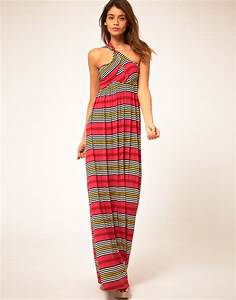 Miss sixty Maxi Dress with Stripe Print in Pink | Lyst