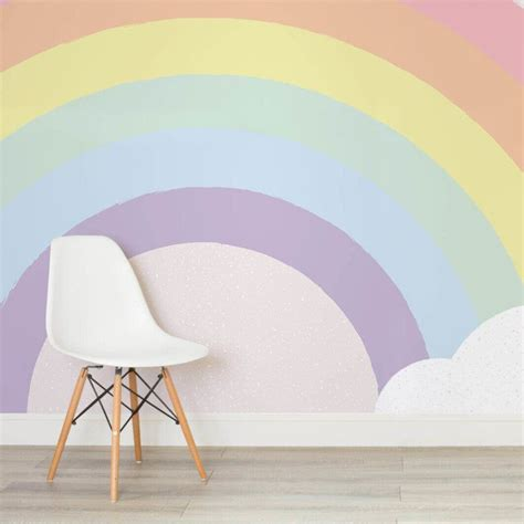 Lovely Pastel Wall Mural Design Ideas by Pastel Rainbow Wallpaper Mural Home Decor In 2019