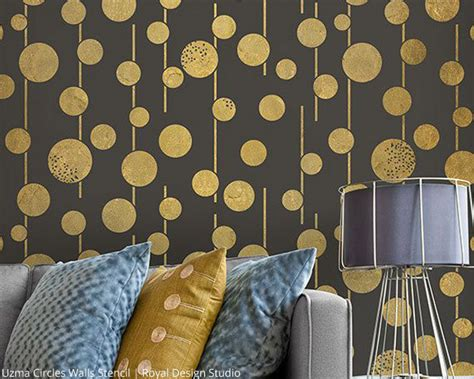 Circle Mirror Wall Decor by Get Alluring Accent Walls With Stencils Paint Pattern