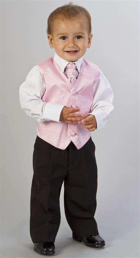 BABY BOYS PINK 4PC WEDDING WAISTCOAT SUIT AGE 3m-8y   eBay