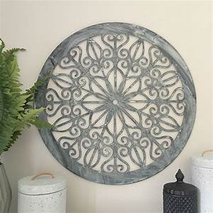 Decorative round metal wall panel garden art screen