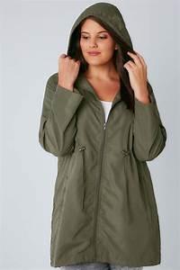 Khaki Pocket Parka Jacket With Hood Plus Size 16 To 36