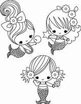 Coloring Cute Pages Mermaids sketch template