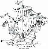 Ship Coloring Pirate Cartoon Clipper Drawing Template Pirates Colorir sketch template