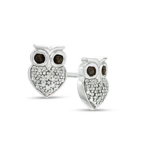 diamond accent owl stud earrings  sterling silver view
