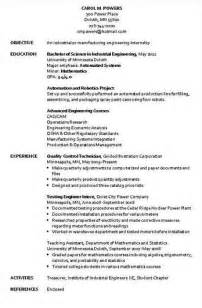 industrial resume format industrial engineer resume sle