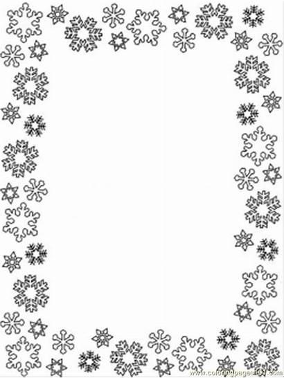 Coloring Frame Pages Printable Snowflake Snowflakes Border