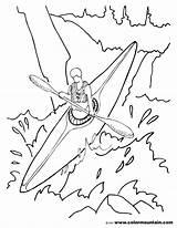 Kayak Coloring Drawing Kayaking Boat Canoe Printable Getcolorings Fishing Getdrawings sketch template