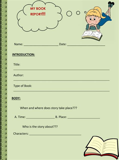 book report worksheet templates word layouts