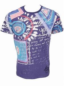 Tee Shirt Moulant Homme : desigual tee shirt 50t14b6 tangente bleu homme des marques et vous ~ Dallasstarsshop.com Idées de Décoration