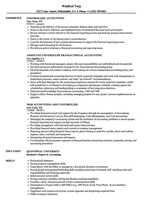 Resume For Accounting by Controller Accounting Resume Sles Velvet