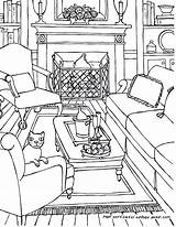 Coloring Living Drawing Perspective Interior Adults Adult Rooms Colouring Line Drawings Point Sketch Printable Bedroom Colour Getdrawings Ausmalen Getcolorings Cat sketch template