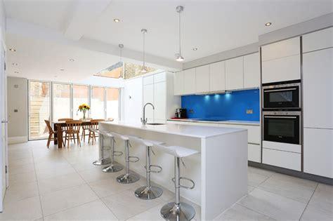 Matt White Kitchen With Blue Splashback Contemporary