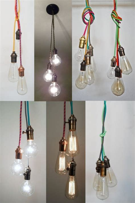 exposed light bulb chandelier exposed bulb ceiling lights with coloured cords used in