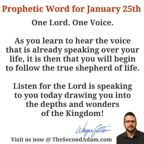 January 25 Daily Prophetic Word Of God  The Second Adam