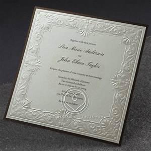 vintage embossed framed invitation cream paper silk foil With foil embossed wedding invitations uk