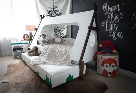 diy toddler bed in shape of a tent kids teepee trundle bed home building furniture and