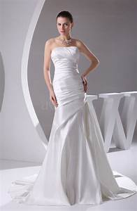 modern outdoor strapless backless satin ruching bridal With strapless and backless wedding dress